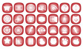 The Communication Icon on A Red Background. Communication and Business Icons Set in A Red Color Stock Photos