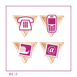 COMMUNICATION: Icon Set 04 - Version 3. 4 icons in a triangle shaped buttons about communication. Please check the complete set and other versions Stock Photo