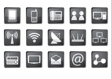 Communication icon set. Set of 15 icons representing communication symbols Stock Photos