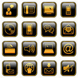 Communication icon set - golden series Royalty Free Stock Photography