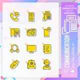 Communication icon set with lineal style for technology. Contact us icon bundle can use for website, app, UI, infographic, print royalty free illustration