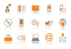 Communication icon set - orange series Royalty Free Stock Image