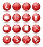 Communication icon set in red spheres Royalty Free Stock Image