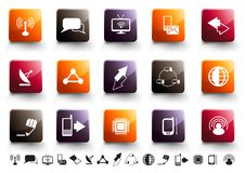 Communication Icon Set | Warm High Gloss. A collection of 15 communication and technology icons in high gloss finish vector illustration