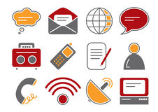 Communication Icons. Vector illustration of 12 different communication icons, red and orange color scheme royalty free illustration