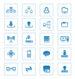 Network computer server hardware icons set file sharing folder upload download icon LAN user profile router storage NAS attached. Computer hardware icons set. PC Royalty Free Stock Photography