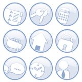 Communication icons. Illustrations of icons representing those used for communication and the web stock illustration