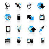Communication icons. Set of 16 communication icons stock illustration