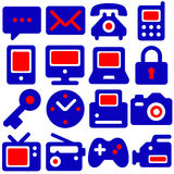 Communication icons. Modern communication icons in bright red and blue Royalty Free Stock Photography