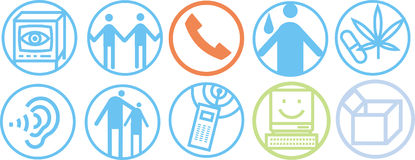 Communication icons. Set of simple bold line icons related to communication and information Royalty Free Stock Photography