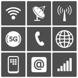 Communication icons. And connection symbols: wifi, gsm, phone, email Royalty Free Stock Photo