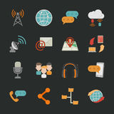 Communication icons with black background Stock Image