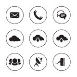 Communication icons on black and white backdrops Stock Images