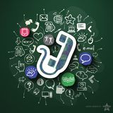Communication with icons on blackboard. Vector illustration Stock Photography