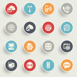 Communication icons with color buttons on gray background. Stock Images