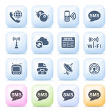 Communication icons on color buttons. Stock Photo
