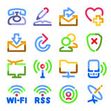 Communication icons. Color contour series. Royalty Free Stock Images