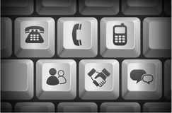 Communication Icons on Computer Keyboard Buttons Stock Images