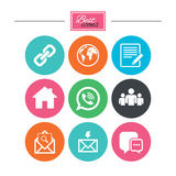 Communication icons. Contact, mail signs. E-mail, call phone and group symbols. Colorful flat buttons with icons. Vector royalty free illustration