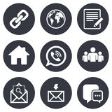 Communication icons. Contact, mail signs Royalty Free Stock Photos