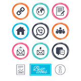 Communication icons. Contact, mail signs. Royalty Free Stock Image