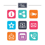 Communication icons. Contact, mail signs. E-mail, information speech bubble and calendar symbols. Colorful flat square buttons with icons. Vector vector illustration