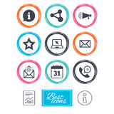 Communication icons. Contact, mail signs. Royalty Free Stock Photography