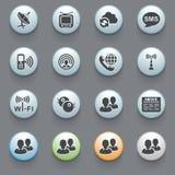 Communication icons on gray background. Set 1 Royalty Free Stock Photos