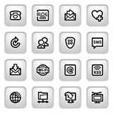 Communication icons on gray buttons. Royalty Free Stock Image