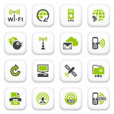 Communication icons. Green gray series. Stock Image