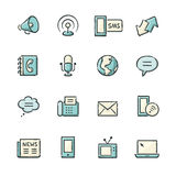 Communication Icons. Hand drawn blue and beige media and communication icons. File format is EPS8 royalty free illustration