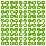 100 communication icons hexagon green. 100 communication icons set in green hexagon isolated vector illustration Royalty Free Stock Images
