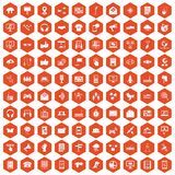 100 communication icons hexagon orange. 100 communication icons set in orange hexagon isolated vector illustration Stock Image