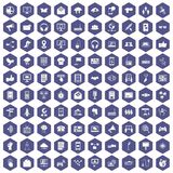 100 communication icons hexagon purple Royalty Free Stock Image