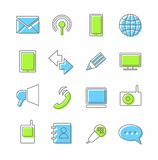 Communication, icons, linear, color. Royalty Free Stock Photos