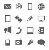 Communication, icons, monochrome. Stock Images