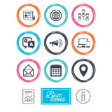 Communication icons. News, chat messages signs. Stock Photography
