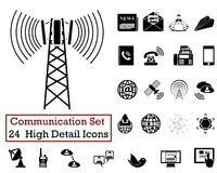 24 Communication Icons. Set of 24 Communication Icons in Black Color Royalty Free Stock Photos