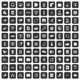 100 communication icons set black. 100 communication icons set in black color isolated vector illustration Royalty Free Stock Images