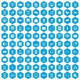 100 communication icons set blue. 100 communication icons set in blue hexagon isolated vector illustration Royalty Free Stock Image