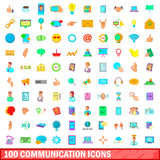 100 communication icons set, cartoon style Royalty Free Stock Photos