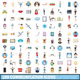 100 communication icons set, cartoon style. 100 communication icons set in cartoon style for any design vector illustration royalty free illustration