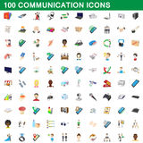 100 communication icons set, cartoon style Royalty Free Stock Images