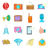 Communication icons set, cartoon style Stock Photography