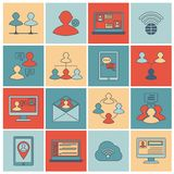 Communication icons set flat line Stock Photography