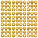 100 communication icons set gold. 100 communication icons set in gold circle isolated on white vectr illustration Royalty Free Stock Images