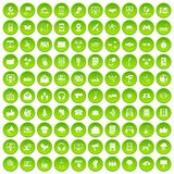 100 communication icons set green circle. Isolated on white background vector illustration Stock Images