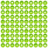 100 communication icons set green. 100 communication icons set in green circle isolated on white vectr illustration royalty free illustration