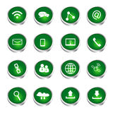 Communication icons set green glossy buttons Royalty Free Stock Photos