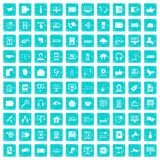 100 communication icons set grunge blue. 100 communication icons set in grunge style blue color isolated on white background vector illustration Royalty Free Stock Photos